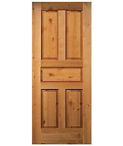 5 Panel Raised Authentic Knotty Alder Stain Grade Solid Core Interior Wood Doors