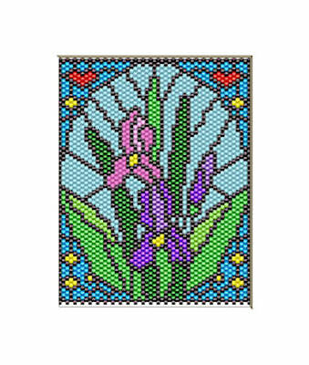 IRIS BLOOMS~BEADED BANNER PATTERN ONLY