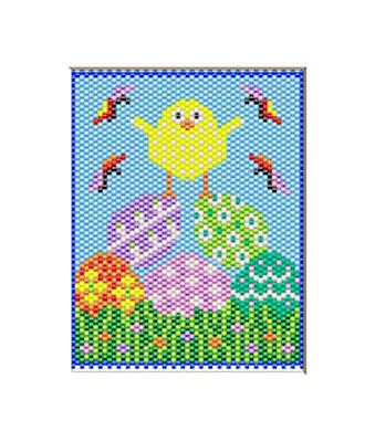 EASTER EGGS AND CHICK~BEADED BANNER PATTERN ONLY