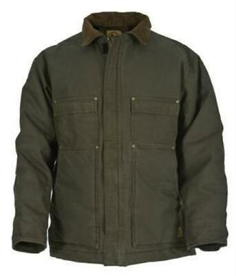 Berne Apparel 44/Large Washed Chore Coat - Quilt Lined Tall - Olive Duck