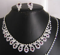 Wedding Bridal Party Necklace Earrings Bracelet Ring Crystal Set