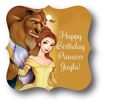 24 Beauty and the Beast Personalized Birthday Party Favor Tags with Belle (Beauty And The Beast Party)