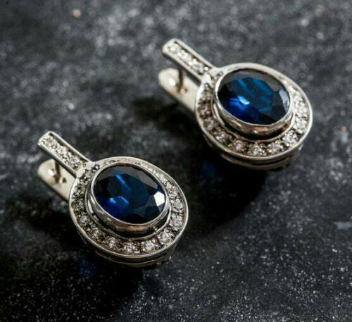 Vintage Art Deco Earrings Sapphire Bridal Earrings 2.1 Ct Diamond 14K White Gold
