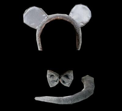 graues Mausset Maus Ohren Schwanz Fliege Party - Graue Maus Ohren