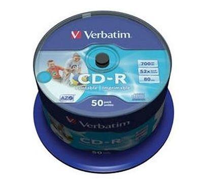 50 Verbatim Rohlinge CD-R full printable 80Min 700MB 52x Spindel