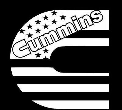 Diesel Truck - Cummins Flag Logo Vinyl Decal/ Window Sticker Decal - Flag
