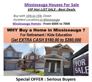 Mississauga Homes From 600K to 700K !