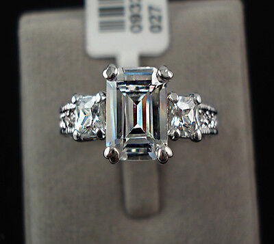 3 Ct Emerald Cut Diamond Sterling Silver 18k Gold Finish Engagement Rings