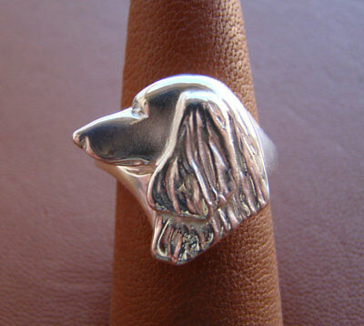 Sterling Silver Longhaired Dachshund Head Study Ring for sale  Parker
