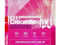 2x Creamfiels 3 day bronze camping