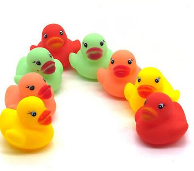 12Pcs Rubber Squeaky Duck For Baby Kids Happy Hour Race Cute Toys Bathing Ducky