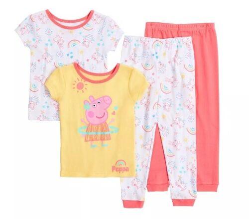 Girls 3T Peppa Pig 4 Piece Cotton Pajama Set S/S Tops Long Pants NWT