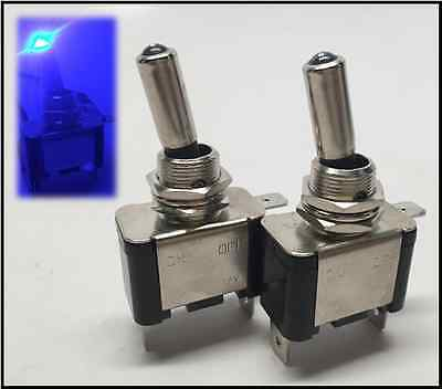 2 Pcs Marine Boat Automotive Car 12v 20a Blue Dot Led Toggle Switch Spst Onoff