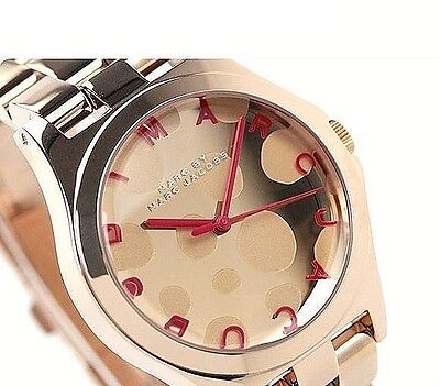 NWT Marc Jacobs Women's Watch HENRY GLOSSY POP Rose Gold Pink MBM3268 $250