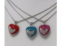 NEW Ladies Jewellery Pendant Diamante heart necklace in red