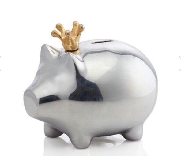 LUNARES Mr Pigglesworth Polished Piggy Bank with Gold Crown ~ NIB! $169 RV! ❤️