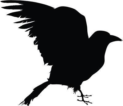 Crow silhouette vinyl decal sticker raven crow birds ()