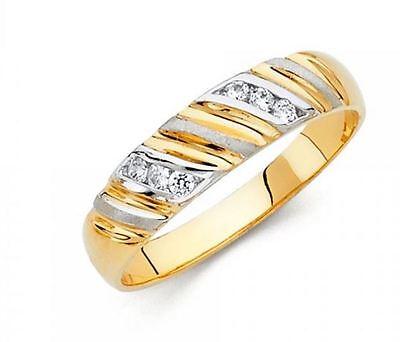 14k Yellow White Gold Two Tone 5 mm Round Cut Diamond Men's Wedding Band Ring