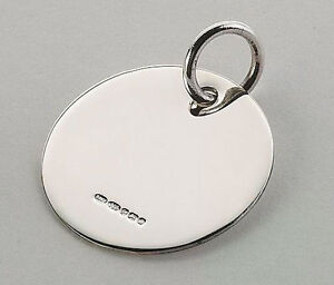 FINE NEW HM ENGLISH STERLING SILVER ROUND PET TAG FOB IN BOX