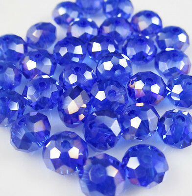 New 30pcs Faceted  Rondelle glass crystal #5040 6x8mm Beads Blue AB colors ZA1