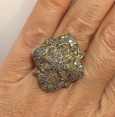 Large 14k Yellow Gold Sterling Silver 2 Ct Diamond Champagne Wedding Ring 6.5