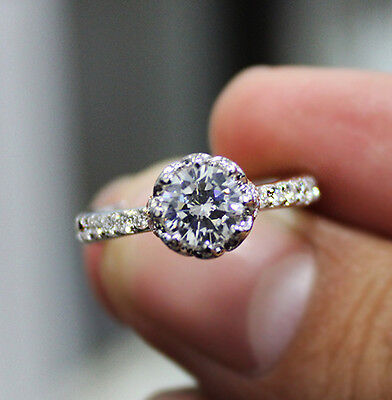 1.45 Ct  Pave Round Cut Diamond Engagement Ring Prong & Pave H,VS1 GIA 14K