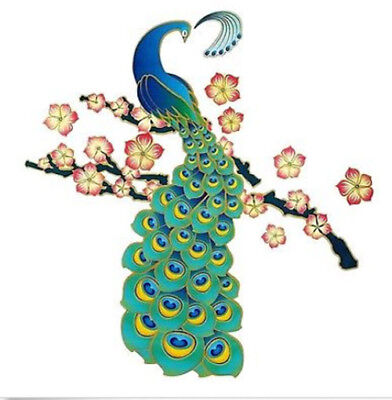 PEACOCK wall stickers 11 big decals wall decor colorful bird flowers branch