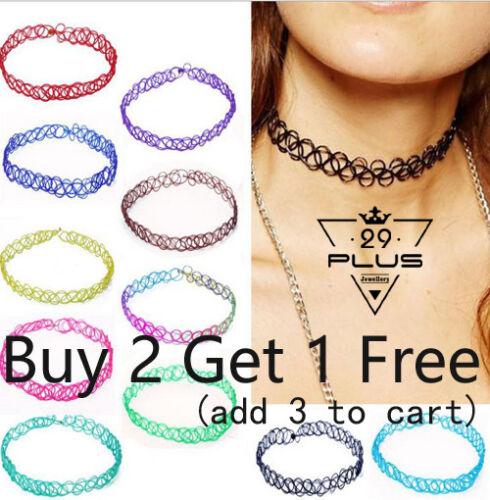 Jewellery - Hippy 90s Stretch Tattoo Elastic Boho Choker Necklace Bracelet Cord Retro Gothic