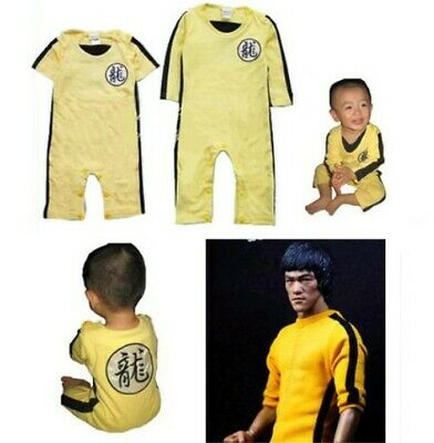 Bruce Lee Kung Fu Baby Kids Toddler Bodysuit Romper Jumpsuit One-Piece Costume - Bruce Lee Kids Costume