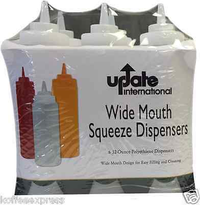 Six 32-ounce Squeeze Bottles Sbc 32w Barware Condiment Holder