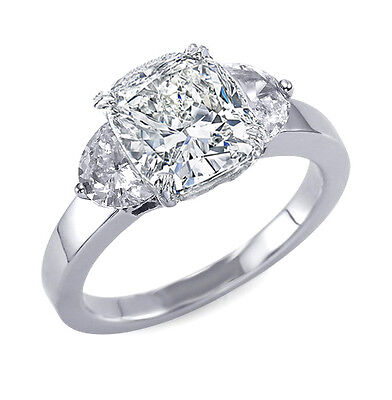 3.73ct Natural Cushion 3-Stone Half Moon Diamond Engagement Ring - GIA Certified