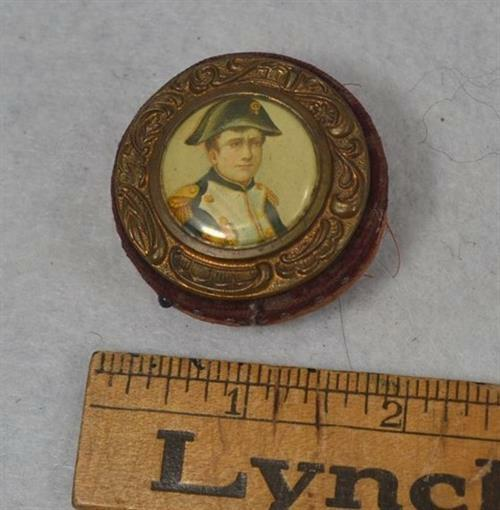 old sewing pin cushion period 19th c rare round soldier framed portrait