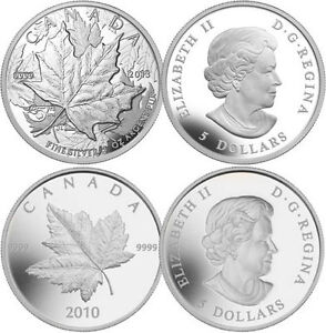 Pair of Piedfort Silver Maple Leafs (2010 and 2013) 1oz .9999 London Ontario image 1
