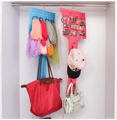 Bag, Scarf and Jewellery Organiser Hanging Storage Closet Pocket Holder