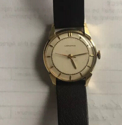 Vintage Mens 1949 Longines 14k Yellow Solid Gold Case Watch High Grade SHARP