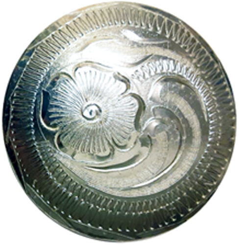 Hand Engraved Silver Plated Conchos. Screw Back. 1/2, 5/8, 3/4, 1, 1-1/4, 1-1/2