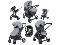 New unboxed Chicco Travel System - pushchair, carrycot, car seat- plus free Autofix Isofix fast base