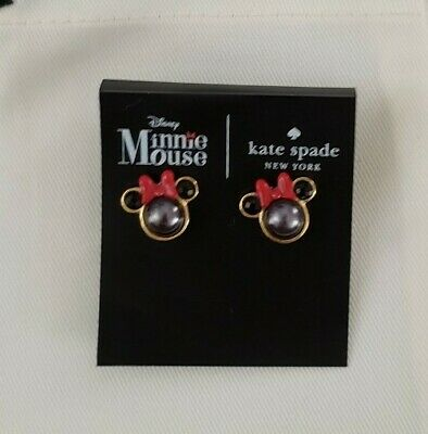 Kate Spade New York X  Disney Minnie Mouse Black Pearl Red Bow Stud Earrings