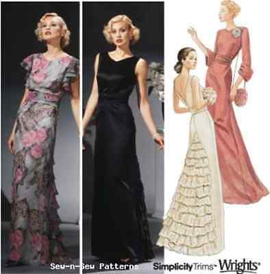 Simplicity 5876 RARE UNCUT PATTERN 14-20 Vintage Art Deco Gown/Dress 20s 30s OOP