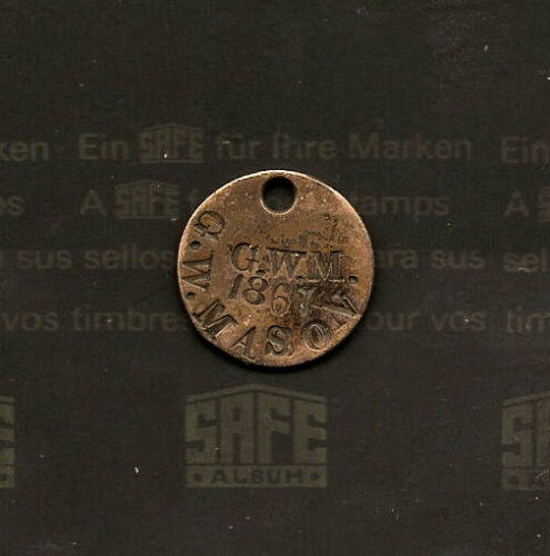 1867 C. W. Mason 4th US Infantry Dog Tag Struck on 1864 Two Cent Piece