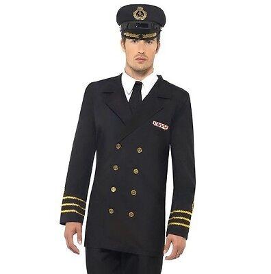 Herren Marine Seemann Offizier Kostüm Schwarz von Smiffys Neu