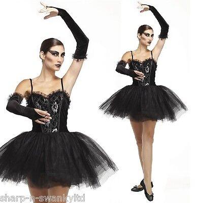 Gothic Ballerina Halloween Costume (Ladies Sexy Gothic Halloween Black Ballerina Tutu Fancy Dress Costume)