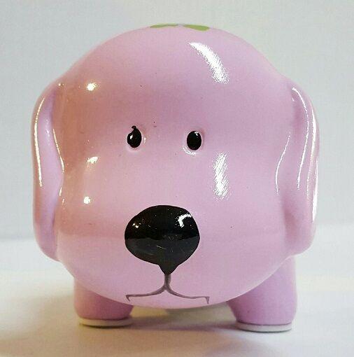 PURPLE w/ FLOWERS CERAMIC DOG PIGGY BANK LARGE SLOT COINS BILLS MONEY SAVE