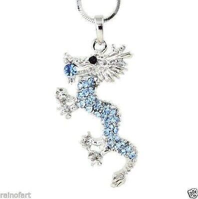 "Dragon Made With Swarovski Crystal Blue Oriental Mythology Pendant 18"" Chain"