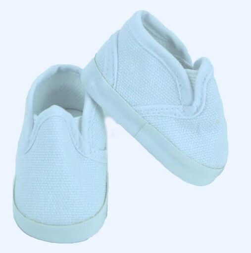 "Lovvbugg White Slip On Deck Shoes Sneakers for 18"" American Girl or Boy Doll Clothes"