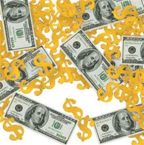 Big Bucks Money Cash Confetti 1/2 oz Pack Casino Vegas Gambling Party Decoration