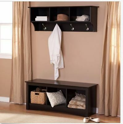 - Entryway Hall Set Coat Rack Storage Cubbie Bench Seat Shelves Hooks Black Wood