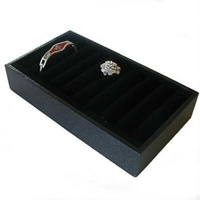 6 X Black Leatherette Bangle Or Ring Display Trays