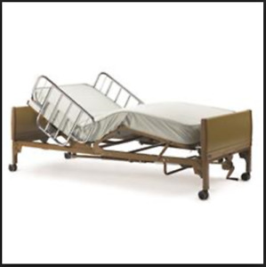 Invacare Home Hospital Bed, with Mattress and Side Rails