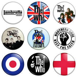 9-Mod-25mm-1-Pin-Button-Badges-The-Who-Jam-Scooter-Retro-Combo-Set